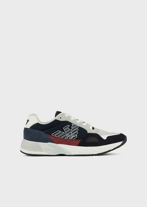 Emporio Armani Sneakers In Tech Fabric And Suede With Monogram On The Side