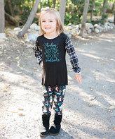 Beary Basics Black 'Cold' Tunic & Turquoise Snowman Leggings - Toddler & Girls
