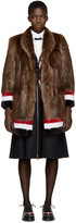 Thom Browne Brown & Tricolor Fur Coat