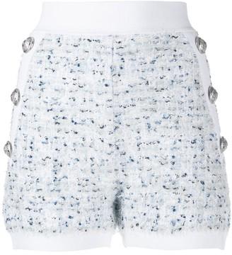 Balmain Buttoned Tweed Short Shorts