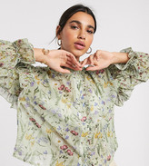 Y.A.S shirt with ruffle detail in botanical print