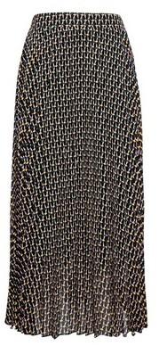 Dorothy Perkins Womens Black Geometric Print Pleated Midi Skirt, Black