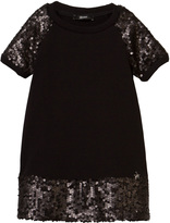 Relish Black Sequin Sleeve and Hem Dress