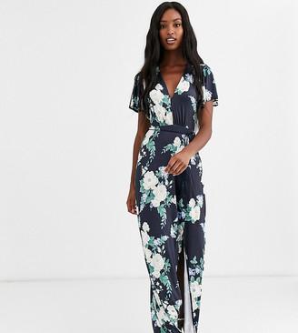 Asos Tall DESIGN Tall floral flutter sleeve maxi dress with tassle belt-Multi