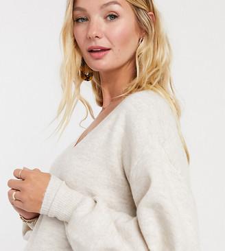 ASOS DESIGN Maternity v neck blouson sleeve sweater