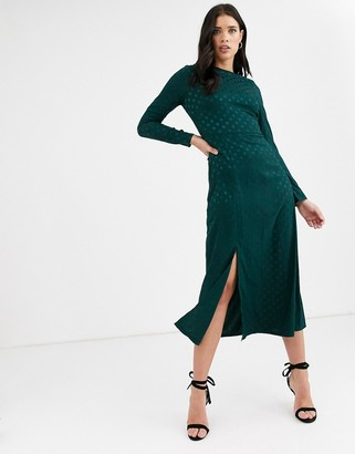 Fashion Union long sleeve midi dress with dip back and tie detail