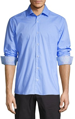 Bertigo Harrison Dot-Print Cotton Sport Shirt