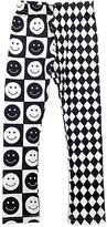Urban Smalls Black & White Smiley Face Toasties Leggings - Toddler & Girls