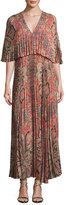 Vilshenko Paisley-Print Light Crepe Maxi Dress, Red Pattern