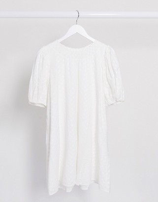 And other stories & organic cotton embroidered smock dress in white