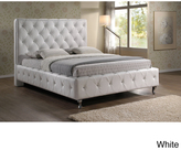 Baxton Studio Stella Crystal Tufted White Modern King-size Bed with Upholstered Headboard