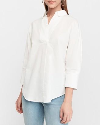 Express Linen-Blend Tunic Popover