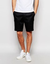 Asos Slim Tailored Shorts In Black Linen Mix