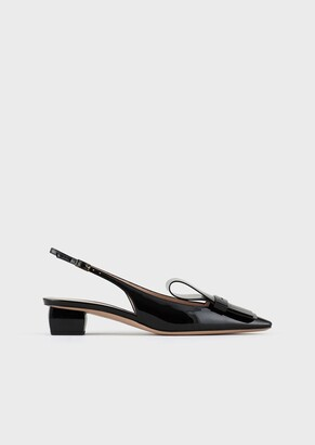 Giorgio Armani Patent Leather Slingbacks With Bow Detail