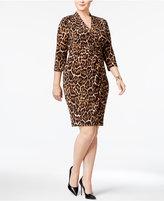 Anne Klein Plus Size Animal-Print Wrap Dress