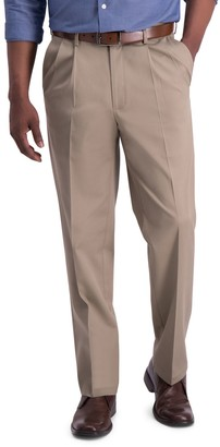 Haggar Men's Iron Free Premium Khaki Classic-Fit Pleat Front Hidden Comfort Waistband Casual Pant