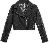 Beautees Lace Moto Jacket, Big Girls (7-16)