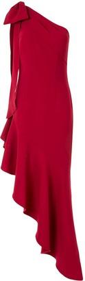 Marchesa Notte Draped One-Shoulder Midi Dress