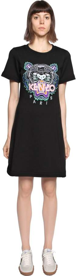 Kenzo Tiger Embroidered Cotton T-Shirt Dress