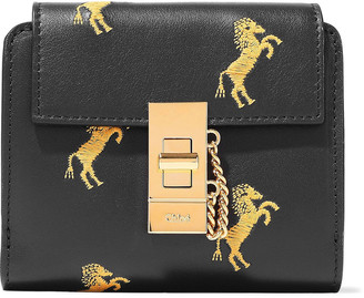 Chloé Drew Embroidered Leather Wallet