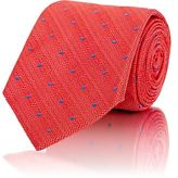 Barneys New York MEN'S DOT-EMBROIDERED NECKTIE-ORANGE
