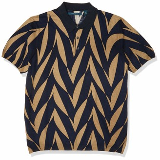 Perry Ellis Men's Large Chevron Print Short Sleeve Polo Shirt