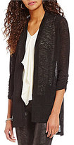 Jones New York Hi-Low Side Slit Textured Knit Open Front Long Cardigan