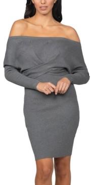 Bebe Juniors' Off-The-Shoulder Sweater Dress