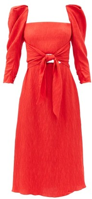 Johanna Ortiz Lady Of Heaven Square-neck Cloque Dress - Red
