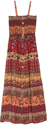 Angie Smocked Front Button Printed Maxi Dress