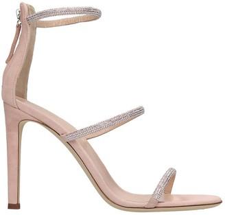 Giuseppe Zanotti Kandra Sparkle Sandals In Rose-pink Suede