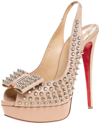Christian Louboutin Beige Spike Leather Clou Noeud Platform Slingback Sandals Size 41