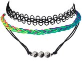 Lux Accessories Yin Yang Peace Love Happiness Pendant Charm Rainbow Tattoo Choker Necklace Set