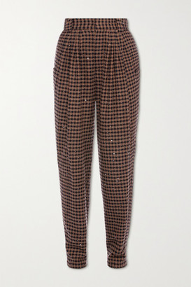 Alessandra Rich Vichy Embellished Houndstooth Tweed Tapered Pants - Brown