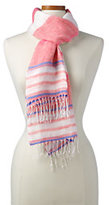Lands' End Women's Variegated Stripe Linen Scarf-Horizontal Multi Stripe