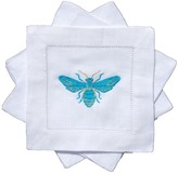 The Well Appointed House Set of Four Bees Knees Embroidered Turquoise Butterfly Cocktail Napkins - IN STOCK IN GREENWICH