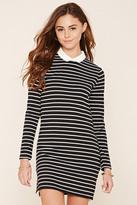 Forever 21 FOREVER 21+ Collared Stripe Shift Dress
