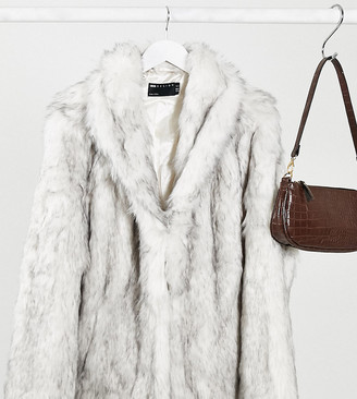 ASOS DESIGN Curve stand faux fur collar coat in white