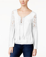 American Rag Lace-Up Bell-Sleeve Peasant Top, Only at Macy's