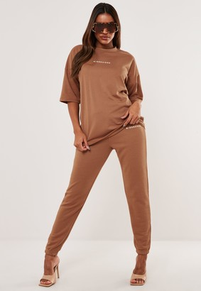 Missguided Tan T Shirt And Joggers Co Ord Set