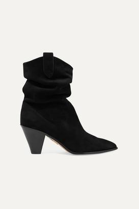 Aquazzura Boogie 70 Suede Ankle Boots - Black