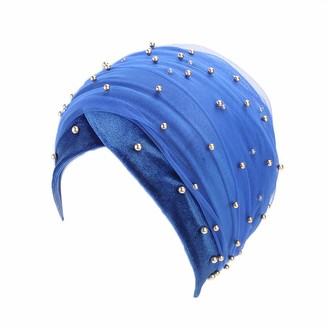 Kalorywee Womens Turban Hats KaloyWee Headwear for Cancer Patients Chemo Turban Headwrap Scarfs Cap with Silky Scarfs for Women Hair Loss Sleep Beanie Blue