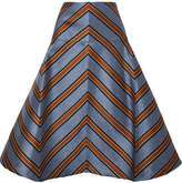 Fendi Satin-jacquard Midi Skirt - Blue