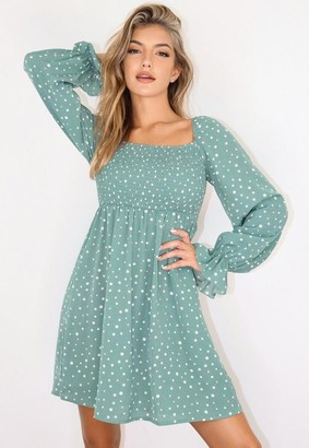 Missguided Sage Polka Dot Milkmaid Mini Dress