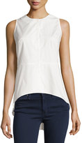 Neiman Marcus Solid Button-Front Peplum Blouse, Off White