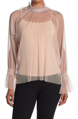 Gracia See-Through Embellished Mock Neck Pleated Top