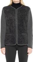 Max Studio Bonded Jersey & Faux Fur Zip Front Jacket