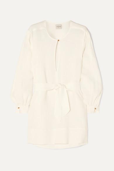 Byblos Le Kasha Belted Linen Mini Dress - Cream