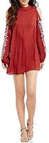 Angie Embroidered Long-Sleeve Mock Neck Cold-Shoulder Shift Dress