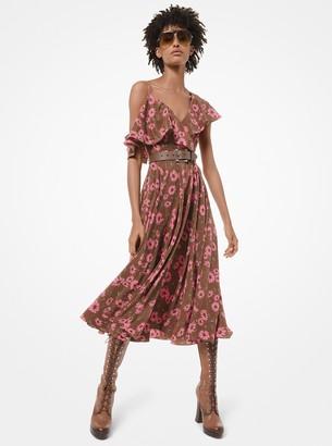 Michael Kors Daisy Silk Crepe De Chine Asymmetric Dress